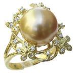 指輪 ブライダル リング パール 南洋真珠パールリング 18金 K18ゴールド ダイヤモンド 冠婚葬祭 普段使い