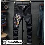 ジーンズ メンズ デニム ダメージ 刺繍 パンツ JEANS ダメージ加工 大きいサイズ ジーパン 2019 春 夏 aldn011