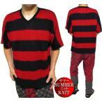 サマーニット Tシャツ メンズ ボーダー 5分袖 Vネック 半袖 レッド/ブラック