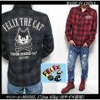 ネルシャツ メンズ どや顔/フィリックス ザ キャット  Felix the Cat チェック 刺繍 長袖シャツ