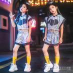 キッズ ダンス衣装 スパンコール キラキラ ヒップホップ セットアップ チアガール HIPHOP トップス パンツ 女の子 ガールズ ステージ衣装 応援団