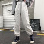 【特価1680】ボトムス カーゴパンツ ロゴ スポーティ ユニセックス ダンス 衣装 韓国 ファッション 大きいサイズ 個性的 服 原宿系 男女兼用