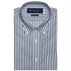 ワイシャツ 半袖 形態安定 ボタンダウン 綿100% 白×ネイビーストライプ からみ織り Just Style