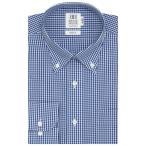 スリム 長袖 ワイシャツ 形態安定 ボタンダウン 白×ブルーチェック