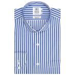スリム 長袖 ワイシャツ 形態安定 ショート ホリゾンタル ワイド 綿100% 白×ブルーストライプ