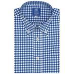 新体型 半袖 ワイシャツ 形態安定 ボタンダウン 白×ブルーチェック