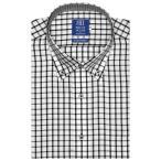 ワイシャツ 半袖 形態安定 ドゥエボットーニ ボタンダウン 綿100% 白×黒チェック 新体型