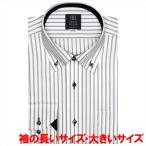 ワイシャツ 長袖 形態安定 ドゥエボットーニ ボタンダウン 白×グレーストライプ 袖の長い・大きいサイズ