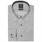 ワイシャツ 長袖 形態安定 スナップダウン 綿100% 白×黒ストライプ 標準体