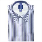 ワイシャツ 半袖 形態安定 フィットインナー マイター ボタンダウン 白×ブルーストライプ 新体型