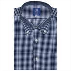 ワイシャツ 半袖 形態安定 ボタンダウン 白×ネイビーチェック 新体型