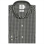ワイシャツ 長袖 形態安定 ホリゾンタル ワイド 綿100% 白×黒チェック スリム