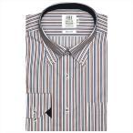 ワイシャツ 長袖 形態安定 ドゥエボットーニ ボタンダウン 白×エンジ、ネイビーストライプ スリム