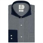 ワイシャツ 長袖 形態安定 クレリック ホリゾンタル ワイド 綿100% 白×ネイビーチェック スリム