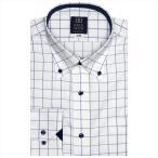 ワイシャツ 長袖 形態安定 ドゥエボットーニ ボタンダウン 白×ブルーチェック 標準体