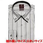 ワイシャツ 長袖 形態安定 ボタンダウン ダブルカラー 綿100% 白×ブラウン、ベージュストライプ 袖の長い・大きいサイズ スリム