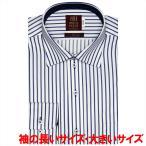 ワイシャツ 長袖 形態安定 ワイド 綿100% 白×ブルーストライプ 袖の長い・大きいサイズ スリム