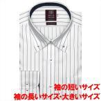 ワイシャツ 長袖 形態安定 ボタンダウン 綿100% 白×ネイビーストライプ 袖の長い・袖の短い・大きいサイズ スリム