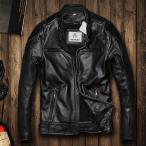 本革ジャケット バイク用 レザージャケット メンズ 革ジャン 牛革 柔らかい バイクジャケット バイクウェア ライダースジャケット シンプル オシャレ 春秋冬