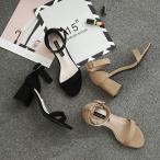 サンダル ストラップ パンプス 痛くない 歩きやすい シューズ 靴 アンクルストラップ 太ヒール スエード 美脚 オフィス レディース 夏