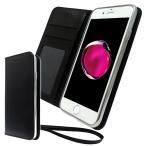 Apple iPhone7 専用 シンプル 高級手帳型 ケース カバー ストラップ付 クリアポケット カード収納あり ( 黒×シルバーメタル ) iPhone7 docomo au softbank