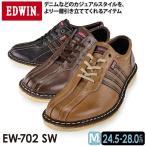 EDWIN エドウィン EDM-702 メンズスニーカー  レザー レースアップ スニーカー デニムと好相性な本革カジュアル EW-702SW