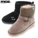 モズ moz sweden レディース カジュアル ブーツ ショート ウィンター シューズ ニット ムートン調 コンビ 防寒 あったか ファー MOZ 187101 S M L LL