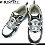 运动鞋 - メンズ スポーツシューズ KB.STYLE 17049 白/黒 ヒモ ジョギング ランニング シューズ 幅広 軽量 お買い得 作業靴