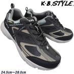 运动鞋 - メンズスニーカー KB.STYLE OP100029 黒/グレー ヒモ ジョギング ランニング シューズ 幅広 軽量 作業靴
