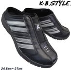 雅虎商城 - メンズ クロッグサンダル KB.STYLE 1940 黒/シルバー サボスニーカー 幅広 軽量 お買い得 作業靴