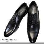 ショッピングストレート トラサルディ 13055 黒 3E TRUSSARDI ビジネスシューズ ストレートチップ 内羽根タイプ 冠婚葬祭 ヒモ 革靴 日本製 マドラス メンズ