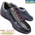 ヨネックス パワークッション SHW-LC92 黒/パープル 3.5E レディース ウォーキングシューズ 天然皮革 スニーカー 紐靴 婦人靴 ファスナー付き YONEX LC 92