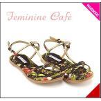 ショッピングフラット フラット サンダル ぺたんこ バックストラップ レディース メタルモチーフ 美脚 フェミニンカフェ Feminine Cafe 1649 ブラック/コンビ