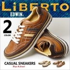 スニーカー シューズ 靴 メンズ カジュアルシューズ LIBERTO EDWIN リベルト エドウィン レースアップ 軽量 メンズシューズ ローカット