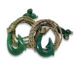 ハワイアンジュエリー ペア ネックレス Jade(翡翠)フィッシュフック ペンダント ボーンカービング シリーズ 釣り針 天然石 メンズ レディース bon086