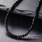 ブラックスピネル ネックレス Laniakea ブランド ハワイアンジュエリー ヘビータイプ 5mm幅 極太 メンズ パワーストーン ネックレス jyu047
