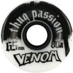 Venom Thug Passion 65mm 80a White Black Skateboard Wheels  Set Of 4  by Venom