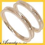 結婚指輪 マリッジリング ペアリング 2本セット 1粒ダイヤモンド0.01ct ミルグレイン(ミル打ち)K10ピンクゴールド K10PG 刻印無料