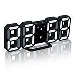 Deerbird? モダンな電子LEDデジタル目覚まし時計24/12時間表示夜モードとスヌーズ機能壁掛け時計ナイトデスクの目覚まし時計(白黒