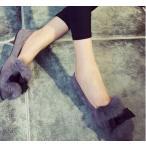ファーリボンフラットパンプス ローヒール フラット ぺたんこ 走れるパンプス 秋冬新作 レディース 靴 痛くない 疲れない 履きやすい 大きいサイズ ヒール