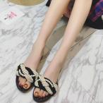 【予約6月末】(j06) パールビジューフラットサンダル☆モノトーン ぺたんこ サンダル ミュール ローヒール シンプル 春夏 新作 靴 レディース