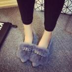 チェーン付ファーパンプス 靴 フラットシューズ 走れるパンプス 秋冬新作 レディース 靴 痛くない 疲れない 履きやすい 大きいサイズ ヒール