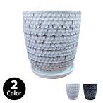 植木鉢・おしゃれ・テラコッタ 8号用鉢カバー YS2028-295 10号(31cm) / 陶器鉢 受け皿付き 大型 白 黒
