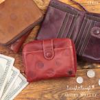 財布 レディース 二つ折り 二つ折り財布 本革 レザー 大人可愛い 水玉 ドット Laugh・Rough 68409