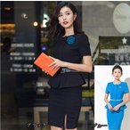 スカートスーツ フォーマル ビジネススーツ 夏 レディーススーツ 半袖ジャケット オフィス  大きいサイズ OL 黒 ブルーdg189d3d3c3