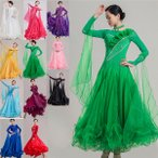 11カラー 社交ダンス 衣装 モダンドレス ラテンドレス ラテン 社交ダンスドレス 大きい裾 S~3XL ダンス ワルツダンス服