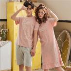ペア パジャマ 星柄 パジャマ レディース 半袖パジャマ ワンピース 夏 可愛い ルームウェア メンズ パジャマ カップル 部屋着 韓国風 寝間着