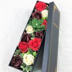 Yahoo!ショップの宮川【BIO】フレグランスソープフラワー 新商品MサイズローズスリムBOX フタ付ボックス お祝い 記念日 お見舞い 母の日 父の日 (Mレッド)
