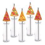 ピザパーティーストローデコレーション 24個パック ピザ誕生日パーティー用品 デコレーション ペーパーデコレーション