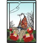 和道楽 切り絵 ちぎり絵 貼り絵ポストカード 椿と猫